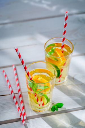 non alcoholic beverage: Fresh lemonade with citrus with in sunny day
