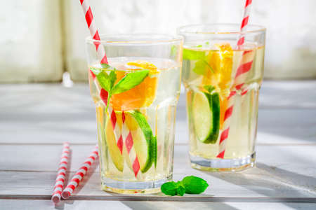 non alcoholic beverage: Fresh lemonade with citrus with in summer