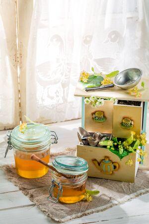 tilo: Healthy linden honey Foto de archivo