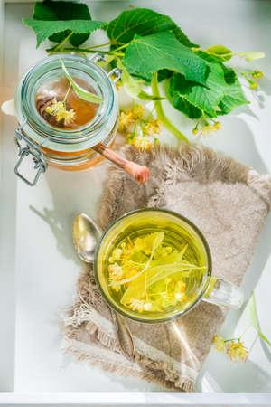 linden tea: Sweet linden tea with honey for flu