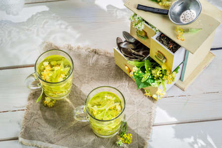linden tea: Healthy linden tea with honey for flu