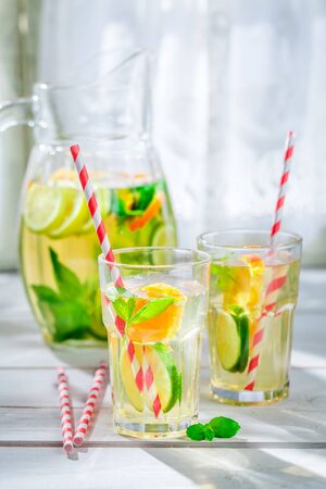 non alcoholic beverage: Fresh lemonade with fruits with in summer