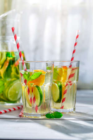 non alcoholic beverage: Healthy lemonade with citrus with in sunny day
