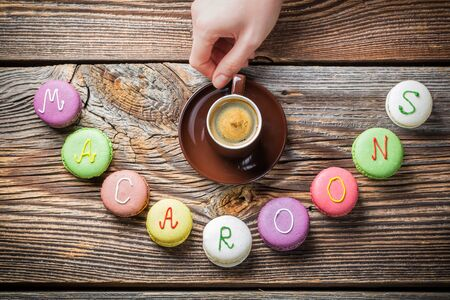 Word of macaroons and coffee