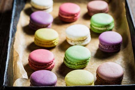 baking tray: Delicious macaroons on baking tray