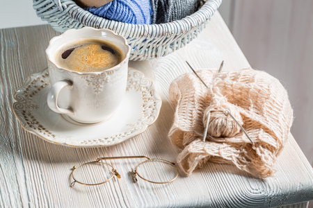 basket embroidery: Handmade knitted scarf made by grandma