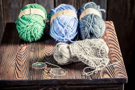 basket embroidery: Homemade knitted scarf made of colored wool