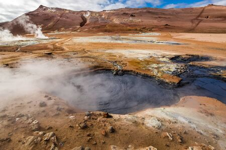 steamy: Namafjall hot and steamy landscape in Iceland Stock Photo