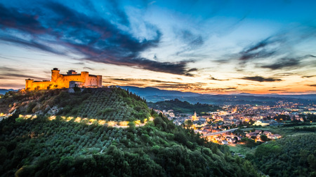 Breathtaking sunset over the castle in Spoleto, Umbria, Italy