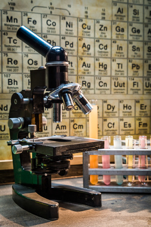 fume: Chemical laboratory with tubes with reagents Stock Photo