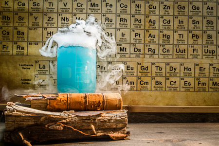 organic fluid: School chemical lab with books