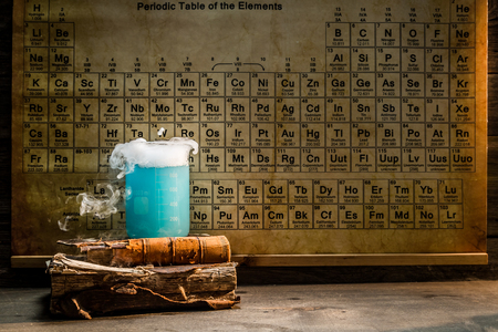 organic fluid: University chemical lab with color beakers Stock Photo