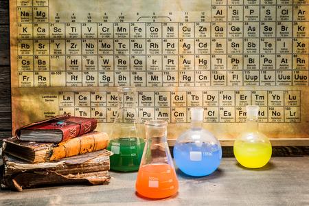 Vintage laboratoire chimique pendant l'expérience