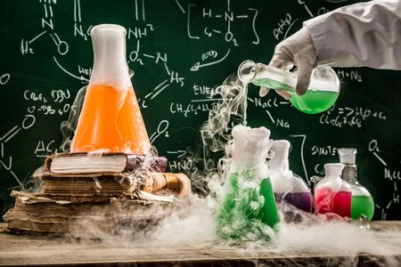 chemical formula: Checking the chemical formula in school laboratory