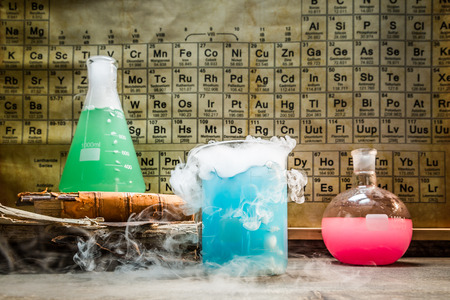 organic fluid: Academic chemical lab with periodic table of elements
