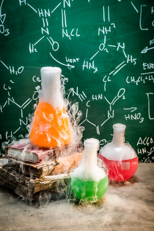 fume: Chemical reaction on chemistry lessons Stock Photo