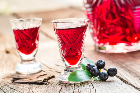 liqueur: Fresh liqueur made of chokeberries and alcohol Stock Photo