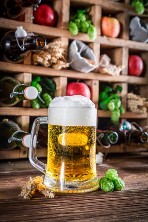 cider: Cider beer and ingredients in old wooden box