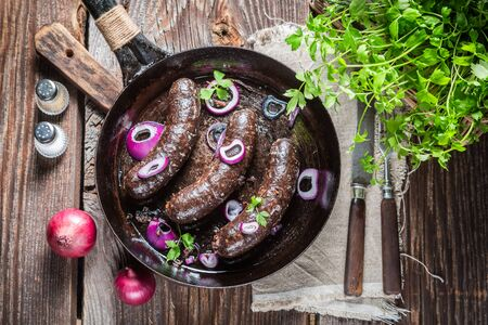 Hot black pudding with onion and parsley Foto de archivo