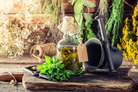 witchdoctor: Fresh mint leaves in bottles as therapeutic cure