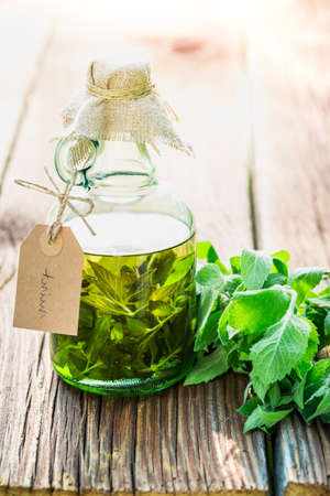 witchdoctor: Healthy tincture in bottles made of mint leaves