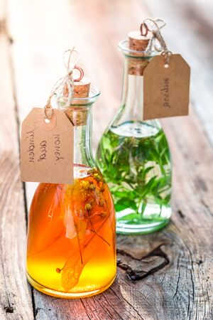 witchdoctor: Bottles with honey, linden and mint with alcohol