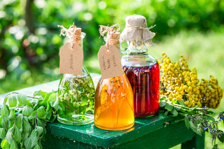 witchdoctor: Healing herbs in bottles as homemade cure in garden