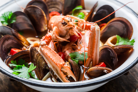 seafood soup: Spicy seafood soup with shrimps and mussels