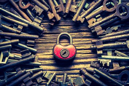 Closeup of aged keys and locks