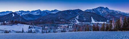 giewont: Winter panorama in Zakopane at sunrise, Tatra Mountains, Poland