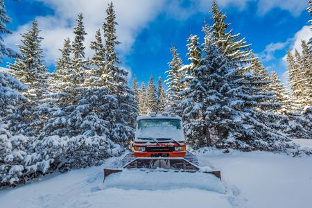 snow grooming machine: Snowcat in winter in Tatra Mountains, Poland Stock Photo