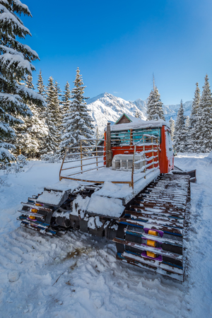 groomer: Snow groomer in winter in Tatra Mountains, Poland Stock Photo