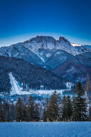giewont: View of the peak Giewont at dawn in Zakopane, Tatra Mountains, Poland
