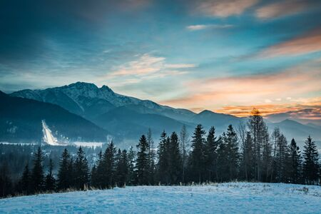 zakopane: Zakopane during the skiing competitions at sunset in winter, Poland