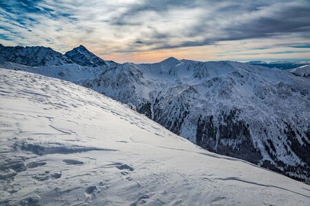 tatra: Sunset over the Tatra Mountains in winter, Poland