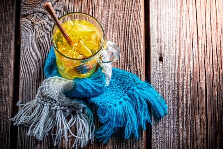 evenings: Healing linden tea for cold evenings Stock Photo