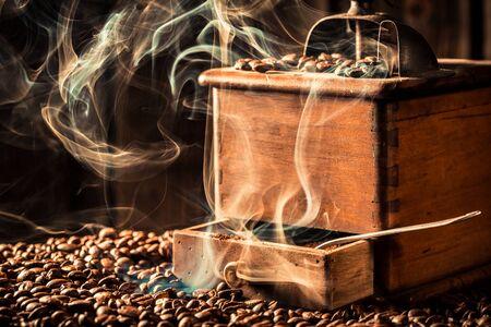 Aroma of roasted coffee grains Stock Photo