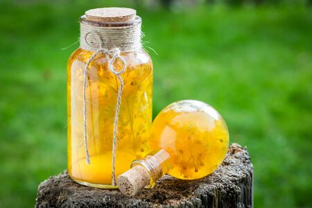 witchdoctor: Tasty and sweet liqueur with honey, linden and alcohol Stock Photo
