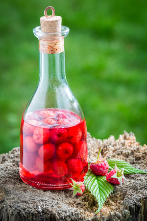 witchdoctor: Healthy raspberries liqueur made of alcohol and fruits Stock Photo