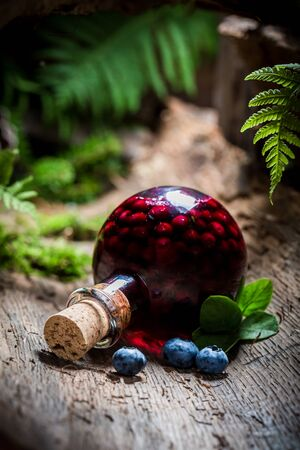 liqueur: Homemade liqueur with alcohol and blueberries