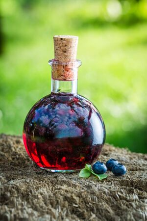 witchdoctor: Sweet liqueur in a bottle with blueberries and alcohol Stock Photo