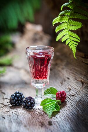 witchdoctor: Sweet liqueur made of blackberries and alcohol Stock Photo