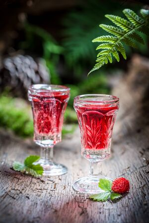 Sweet liqueur with alcohol and wild strawberry Stock Photo