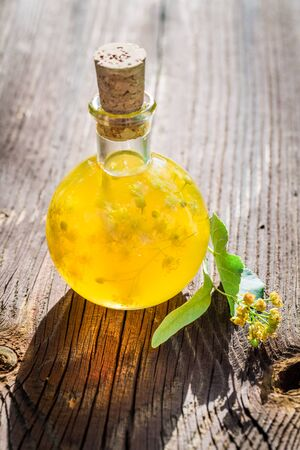 witchdoctor: Homemade liqueur with honey and linden Stock Photo
