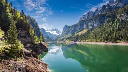 water fall: Wonderful dawn at mountain lake in Gosau, Alps, Austria