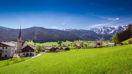 austrian village: Mountain village Gosau in Austrian Alps Stock Photo