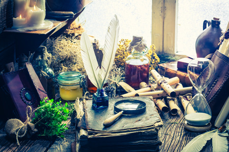 herbalist: Witch workshop full of books and recipe