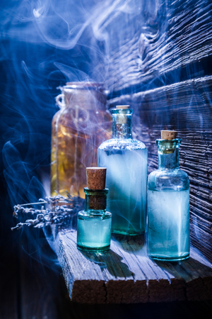 pocion: Vintage witch hut with magical potion for Halloween