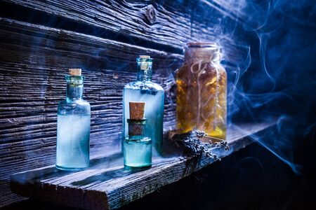 medieval medicine: Magical witch lab full of blue potion for Halloween Stock Photo