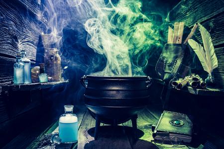 책과 마술 물약이있는 빈티지 위저우 가마솥 할로윈
